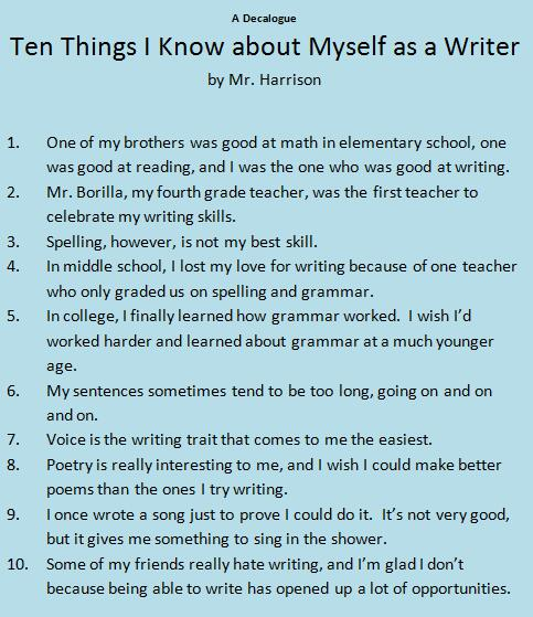 things about myself essay